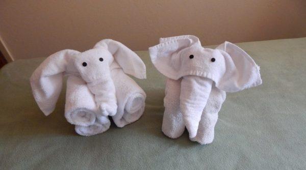 Cách xếp khăn tắm hình con voi ngộ nghĩnh